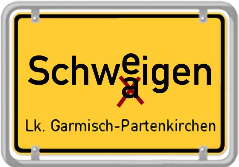 Kleines Schwaigen im Oberland, Demokratie-Wunder bei Kommunalwahl Großes Schweigen ueber das kleine Schwaigen in Bayern ortsschild die Hinterweltler oder doch Hinterwaeldler