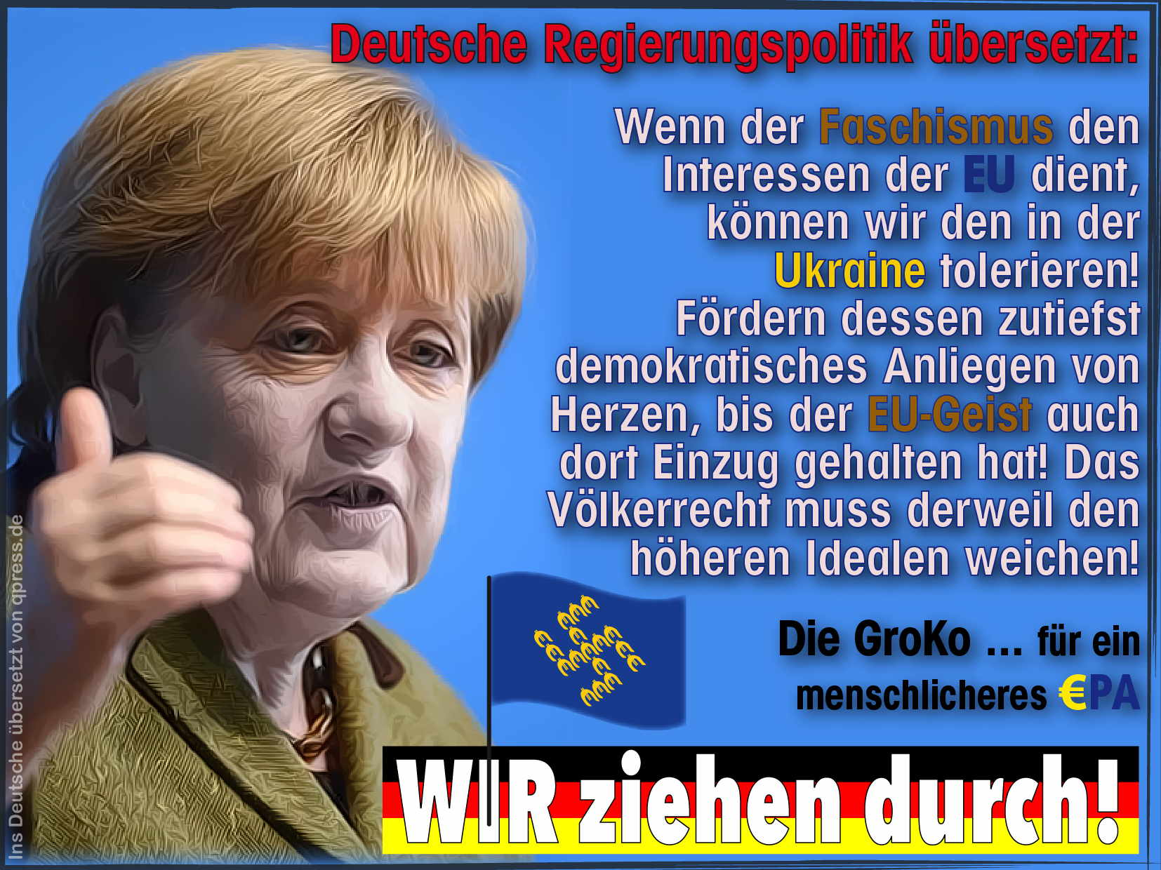 EU will 11 Mrd. Euro für Faschisten und Scharfschützen locker machen Merkel kalkweiss Ukraine Faschisten an die Macht qpress