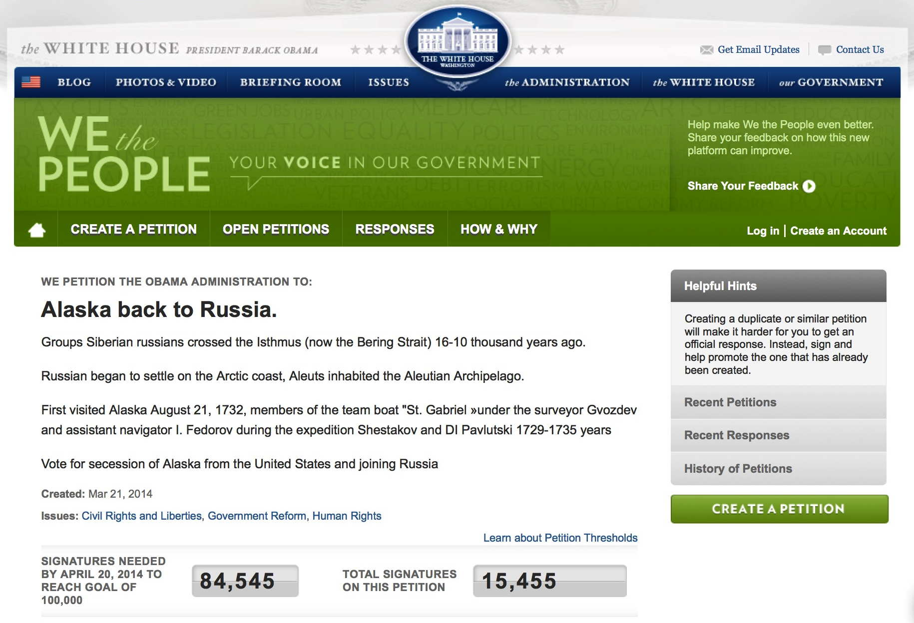 Alaska geht zurück an Russland, Rest an die Indianer, 300 Mio. Amerikaner heimatlos Screenshot petition white house free alaska to russia now