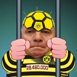 Uli Hoeness hinter gittern knast verurteilung rechtskraft steuerhinterziehung harte Strafe BVB anzug trikot steuerbetrueger suender qpress