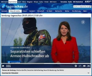 Pro-Russen tricksen ARD und ZDF mit Hubschrauber-Abschuss aus Abschuss Hubschrauber Ukraine Syrien ARD ZDF Fake Bildschirmfoto 2014-05-31 um 17.41.40