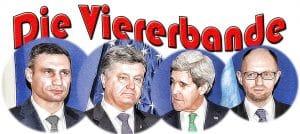 USA und EU lehnen einfache Konfliktlösung in der Ukraine ab Die Viererbande Klitschko Poroschenko Demjanjuk Kerry
