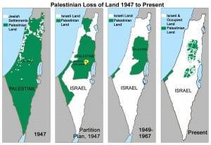Endspiel, ABC News verkauft palästinensisches Bomben-Elend als Leid der Israelis Entwicklung des palaestinensichen Siedlungsgebietes 1947 Gaza West Jordanland bis heute