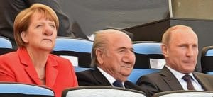 Weltmeistertitel weg, Deutschland in Schockstarre, Spiel muss wiederholt werden Merkel Putin Blatter gerichtszeichner Urteil Weltmeistertitel weg