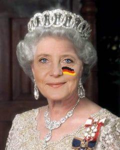 Russe ante portas, Verhaltensmaßregeln für den V-Fall aus dem Kranzleramt Queen Angela Moertel Merkel from Germany Crown Krone mit Flagge Verrat an Deutschland