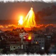 Gaza Bombardierung mit Public Viewing, blutige Live-Szenen aus der ersten Reihe