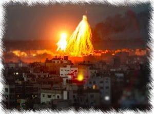 Gaza Bombardierung mit Public Viewing, blutige Live-Szenen aus der ersten Reihe Weisser Phosphor auf Gaza von Israel 2009 Kriegsverbrechen