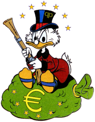 Dagobert Duck Euro Gier finanzen Neid Armut Reichtum Ausbeutung USA Europa qpress