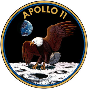 US-Flagge vom Mond geklaut Apollo_11_insignia logo us eagle on the moon adler auf mond abgestuerzt