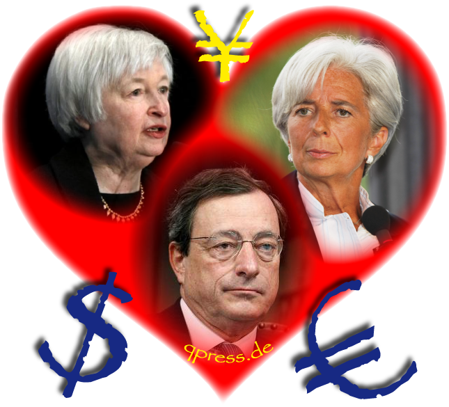 Heart and Soul of Gold Herz und Seele des Geldes currencies Draghi Lagarde Yellen Euro Dollar Money qpress fakeworld EZB Zentralbank Geldschwindel Betrueger-01