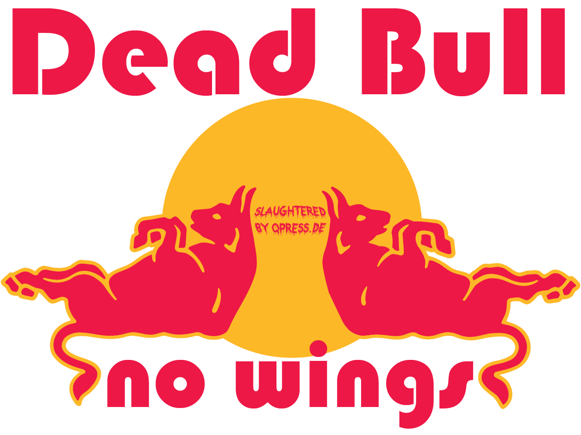 Red Dead Bull logo 150dpi no wings product fraud slaughtered false promisses falsche Versprechen by qpress