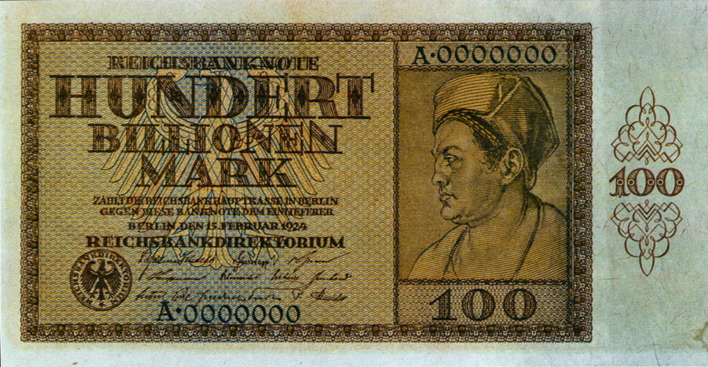 100-billionen-geldschein-mark 1924 inflationsgeld goldene 20er Jahre Depression wirtschaftskrise EZB Gelddruckerei