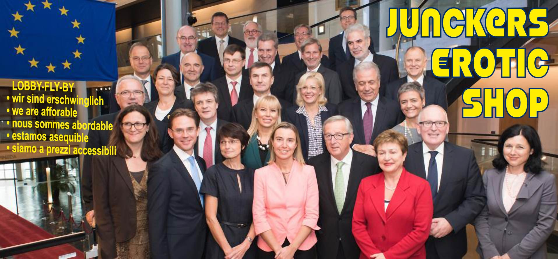 Jean-Claude Juncker EU Kommission family shot Bruessel shopping erschwinglich erfordable europa eurotic shop qpress