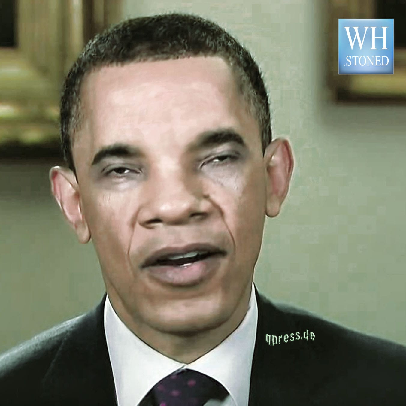 White House stoned Barack Hussein Obama in peace oil mint qalm qpress legalize war on what