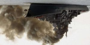 Der Gipfel, russische Flotte versenkt G20 noch vor Australien impression russisches Kriegsschiff bei simulation eines rauchgasangriffs vor Australien diwn under verkehrte Welt