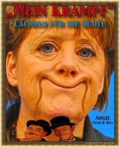 Merkel beliebt Mein Krampf Angela Merkel Laecheln fuer die Quote Politzirkus volksverarschung show kabarett bundestag kabinett Angie qpress