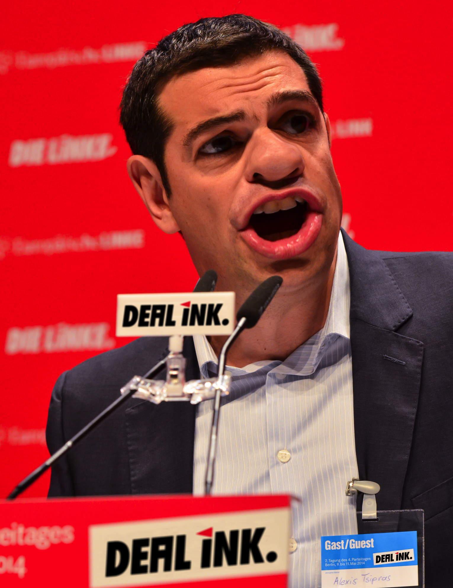 Alexis Tsipras bei der Runde der Tintendealer ink dealer in Deutschland neue strategien fuer Griechenland finanzkrise
