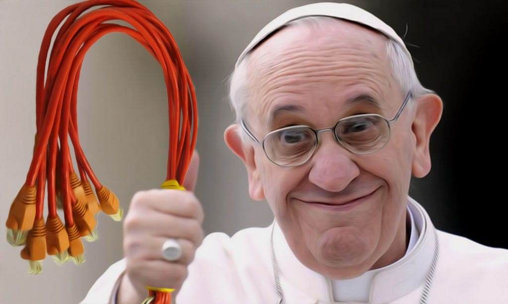 Würdevolles Schlagen von Päpsten bringt Erleuchtung Papst Franziskus mit Peitsche Kinder schlagen erlaubt neue alte Erziehung Skandal Zuechtigung dogma gewaltaetige Erziehung Vatikan Doktrin qpress