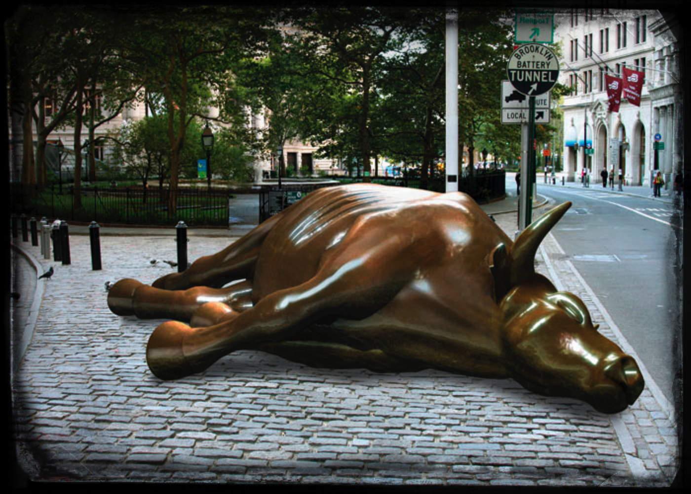 Dead Bull toter Bulle Verschnaufpause Wallstreet Boersenbulle von Wladimir Putin zu Schanden geritten gerahmt Trauerflor