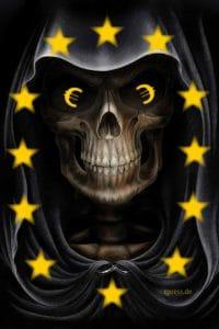 Euro ade - Deutschland führt Knochen Mark ein EU Monster Greaper Troll Todesengel europa synonym symbol schwarzer schwan sterbendes System