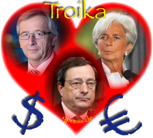 Die neue europäische Zentralregierung heißt Troika Heart and Soul of Gold Herz und Seele des Geldes currencies Draghi Lagarde Juncker Euro Dollar Money qpress fakeworld EZB Zentralbank Geldschwindel Betrueger Troika