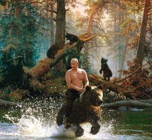 Wladimir Putin reitet den russischen Baeren oder bindet dem Westen einen auf Russland Amerika Sanktionen Propaganda mit Kulisse Landschaft