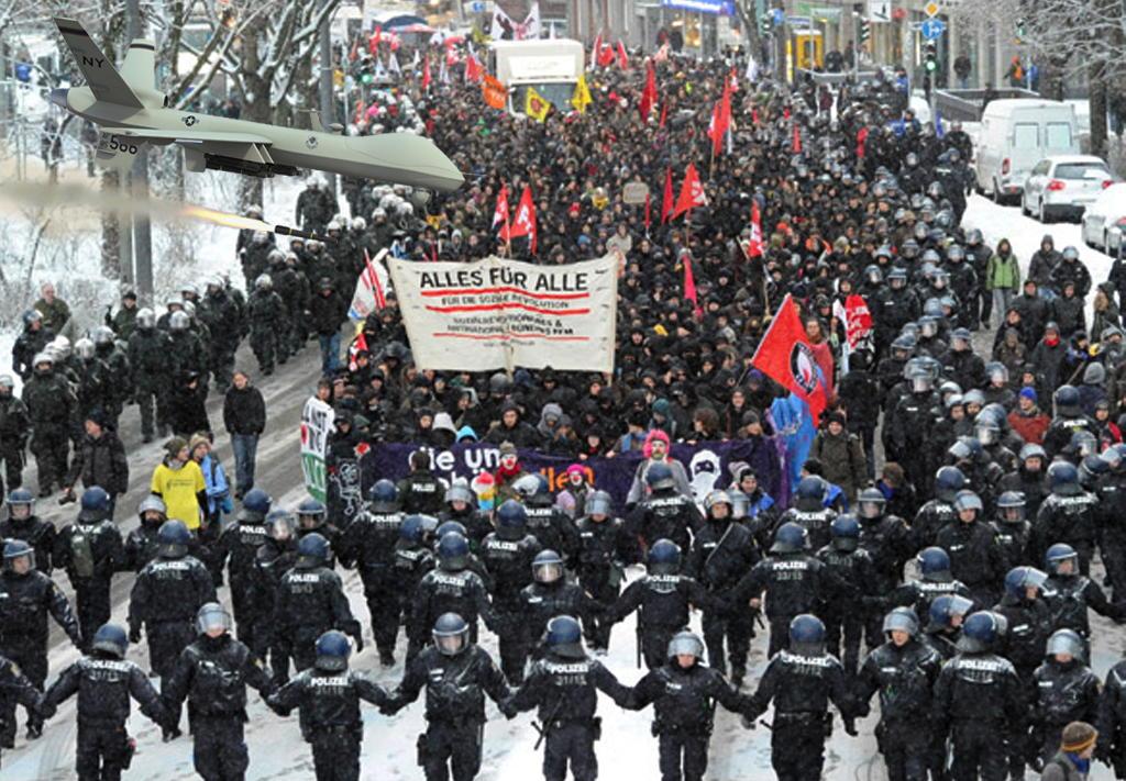 drohnen demo gegen Bespitzelung wehrt euch die Dempkratie entartet der Ueberwachungsstaat Spitzelstaat kommt wieder