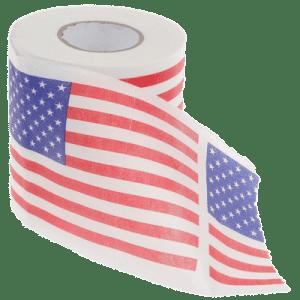 Neue EU-Norm für Klopapier Abrollrichtung Amerikanische Flagge von auf der Rolle Klopapier Toilettenpapier hintern putzen