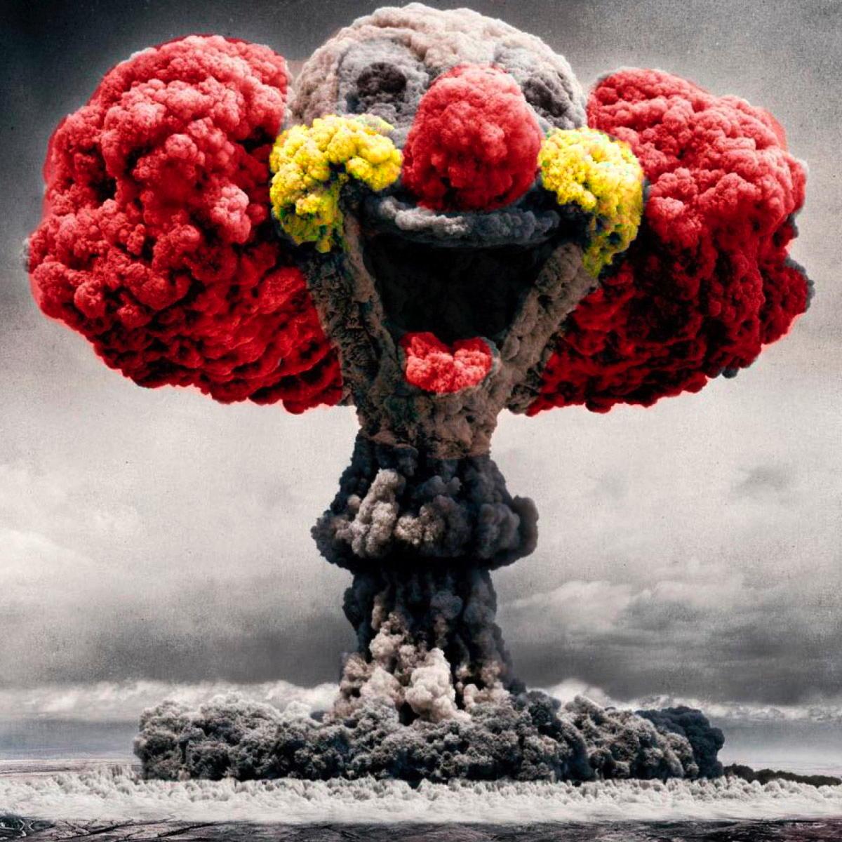 Atombombe atompilz clown lustige zerstoerung vernichtung wahnsinn deutsche atombombe israel atombombenbauer
