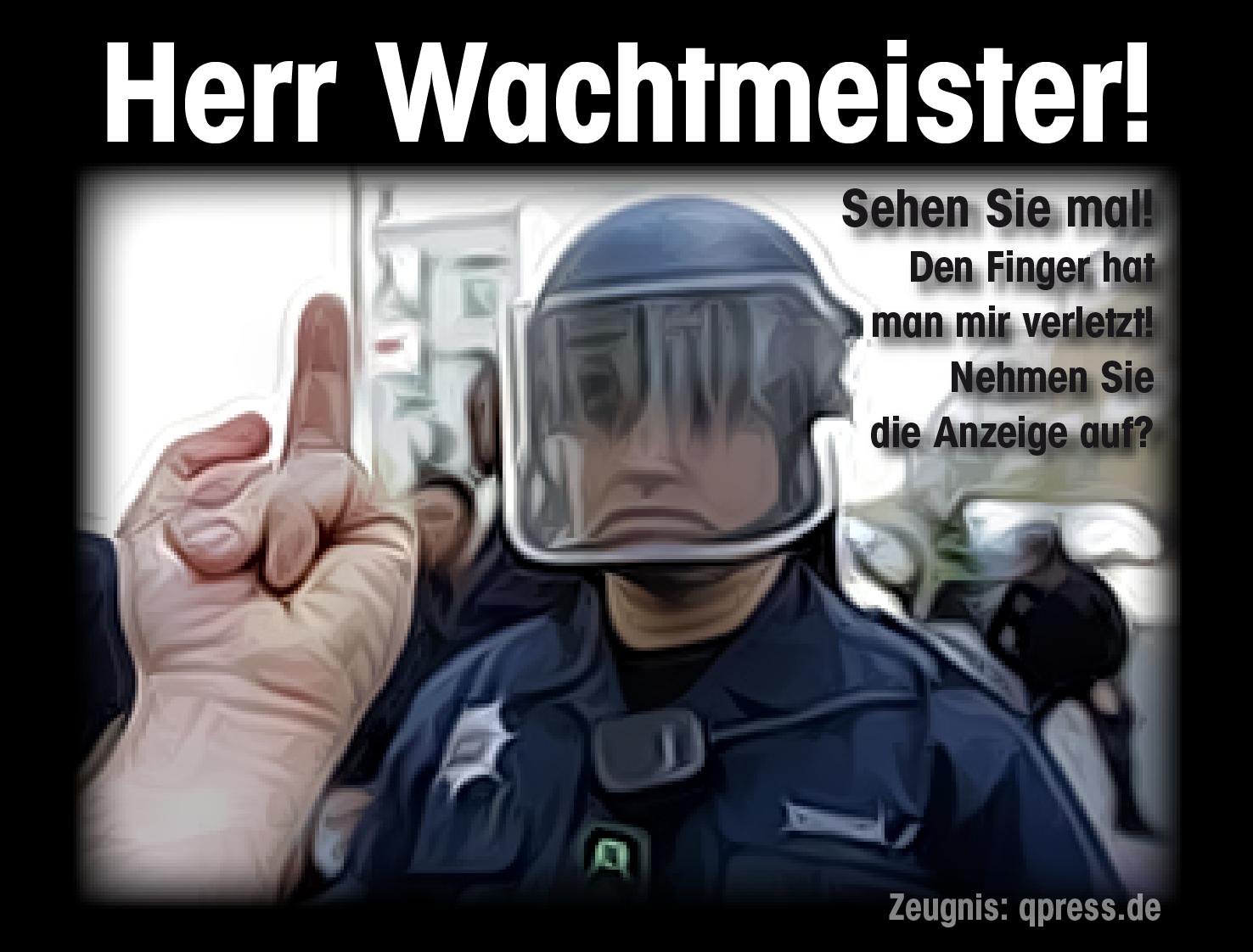 Wachtmeister Anzeige aufnehmen-polizei widerstadn ungehorsam protest qpress