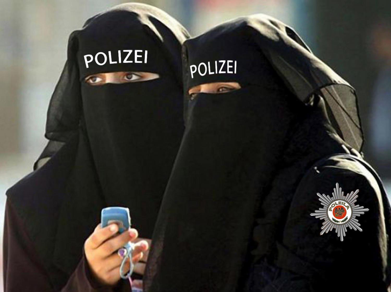 Burka niqaab uniform police polizei Berlin vermummung schleier islam muslima dienstkleidung halal konform