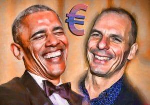 Obama und Varoufakis einig, Europa zahlt die Zeche Barack Hussein Obama Jannis Yanis Varoufakis amused vergnuegt ein Prosit auf den Euro USA Griechenland muss im euroraum bleiben