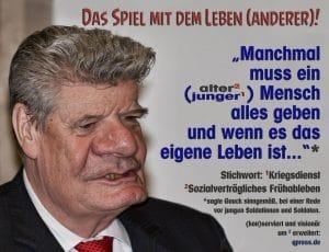 Pastor Joachim Gauck Kriegstreiber hetzer fuer Gott in den Krieg bundespraesident pflugschare zu schwertern