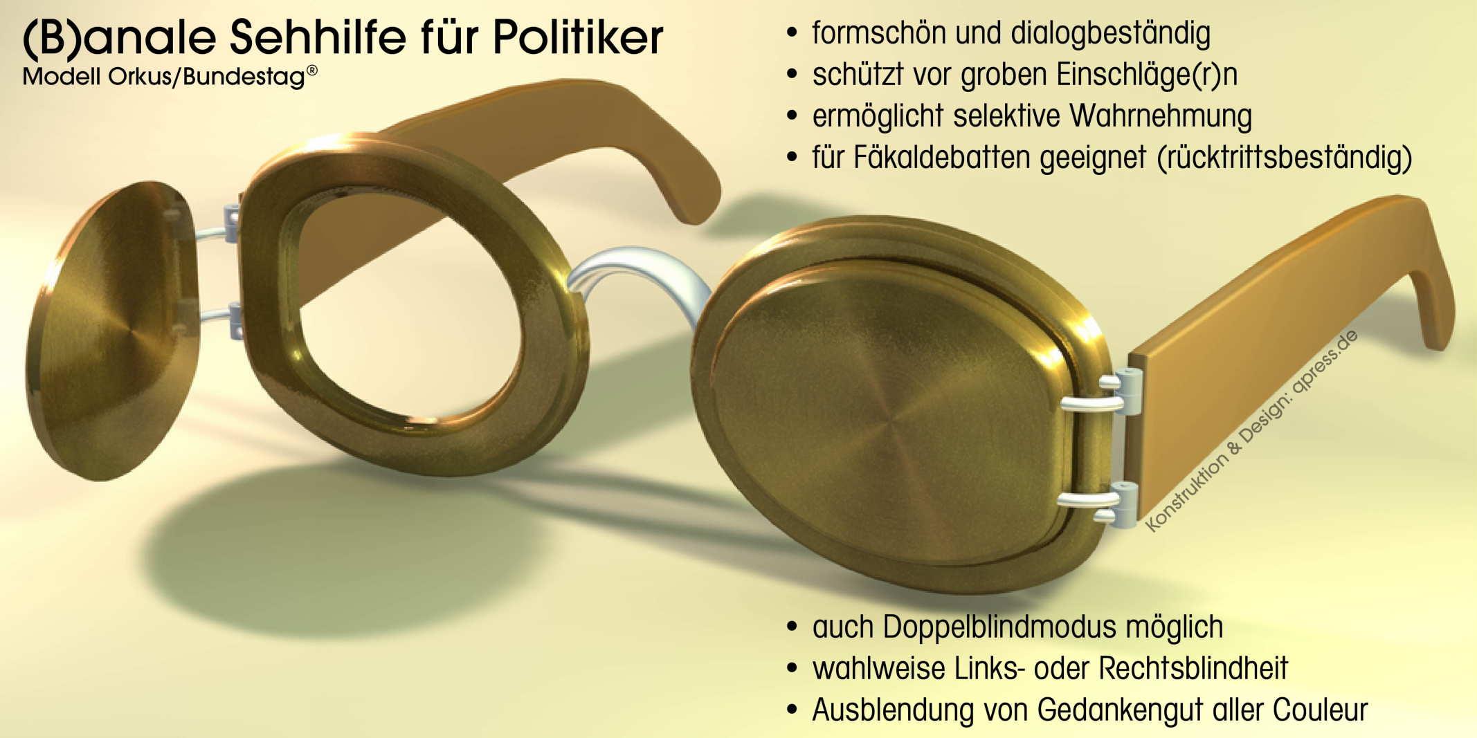 Anale Sehhilfe fuer Poltiker Klo-Brille scheuklappen spritzschutz Blickschutz definierte Sehrichtung