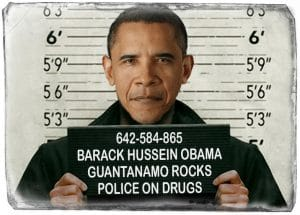 Obama im Knast, mehr Profit für US-Gefängnisindustrie Barack Hussein Obama Mug shot Knast Bild inmate Insasse Prison Knast industrie haeftling