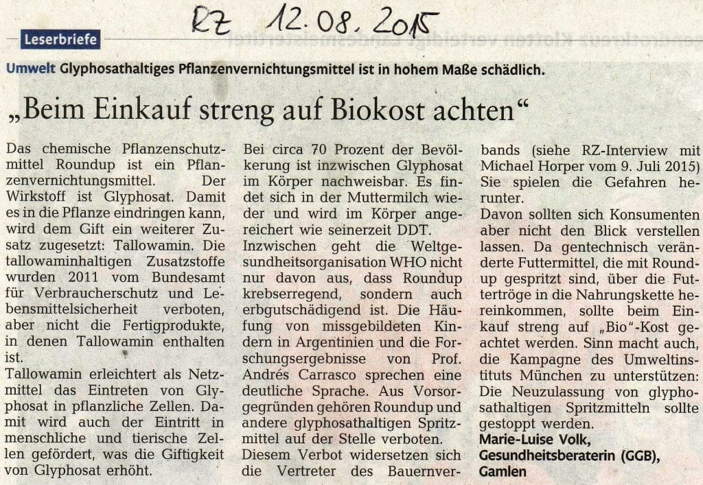Monsanto schießt sich auf deutsche Aktivisten ein 01-Pflanzenvernichtungsmittel Glyphosat Leserbrief Marie Luise Volk RZ