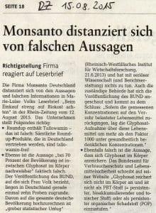 Monsanto schießt sich auf deutsche Aktivisten ein 02-Monsanto distanziert sich 15082015 Gegendarstellungdes Konzerns