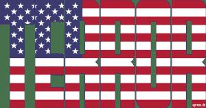 Mossul wird ausgelöscht - und die Welt schaut zu USA Flag Flagge Terror Imperialism Fahne Symbol Macht Weltherrschaft Gewalt Krieg Unterdrueckung weiss qpress
