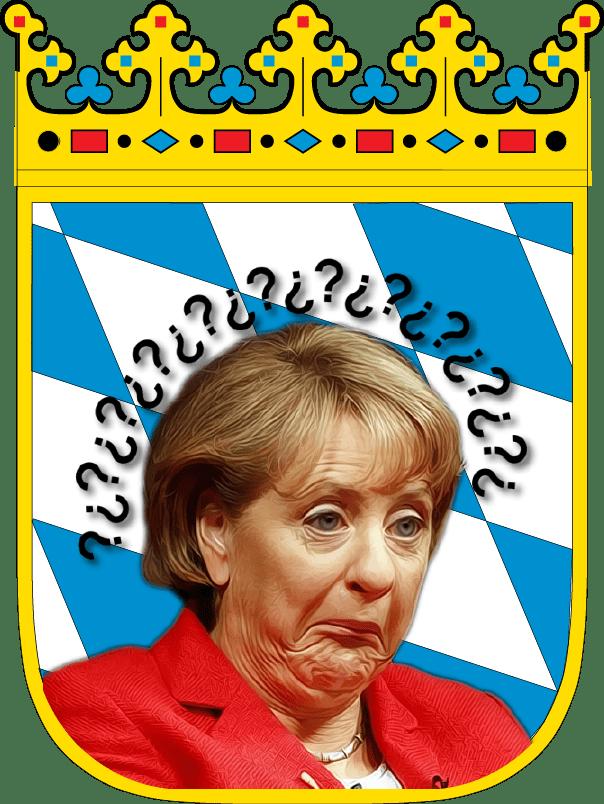 Bayern_Wappen mit Angela Merkel