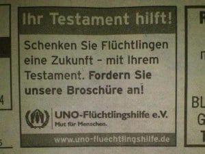 UNO anzeige werbung fuer testament wegen fluechtlinge
