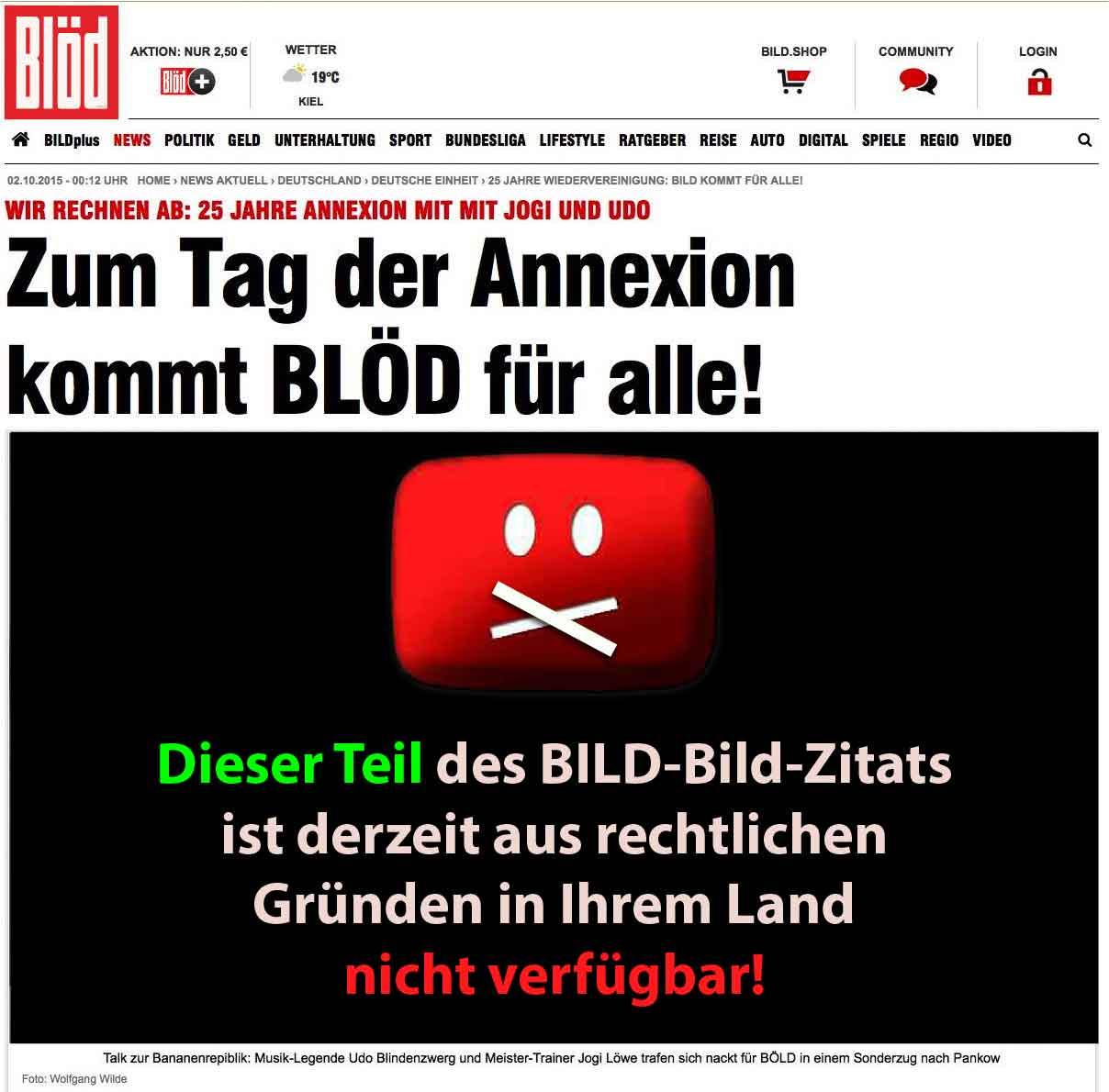 Bloed Bild SOnderuasgabe 25 Jahre Deutschland Bananenrepublik mit Jogi Loew und Udo Lindenberg 25 Jahre Annexion