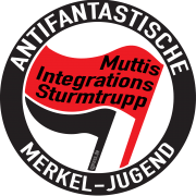 Frauengewalt Antifa logo antifaschistische antifantastische Merkel-Jugend FDJ Jugendorganisation Symbol links Randale schwarzer Block