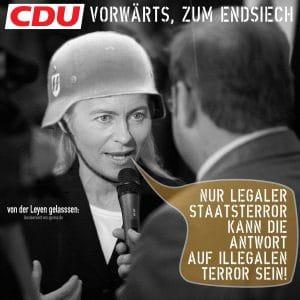Kriegsministerin verteidigt deutschen Staatsterror im Ausland Ursula_von_der_leyen an die Front zum endsiech legaler terror gegen illegalen