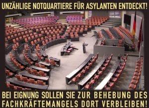 Bundestag wird geräumt, gut 8.000 Flüchtlinge bekommen Obdach unzaelige notquartiere Asylanten fuechtlinge entdeckt bundestag fachkraefte zuwanderung asyl bundespolitik skandal qpress