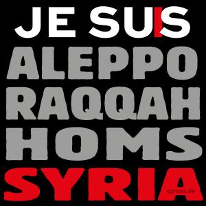 Welle des Mitgefühls überrollt Syrien nach Dauermassakern je-suis-charlie-jesus aleppo-raqqah-homs-syria-72dpi