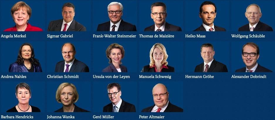 Kabinett Regierung Merkel Bundeskabinett 2016 Kanzlerin und Minister Ressorts Ministerien Fahndung Foto kriminelle Vereinigung