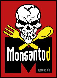 Herbizid, Pestizid, Genozid: Glyphosat muss genehmigt werden Monsanto Logo Monsantod Gift Pestizid lebensmittel nahrung Gentech Schaedel Loeffel Gabel Tod vergiftung qpress