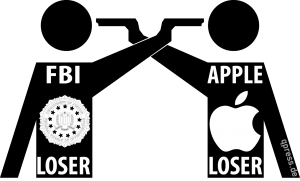 Apple und FBI veräppeln Kundschaft gemeinsam Apple FBI Lose Lose Situation duell showdown forget it fake qpress
