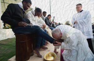 Fusswaschung in Oel Franziskus Papst bei der rituellen Fusspflege von echten Deutschen Rom Ritual Vatikan
