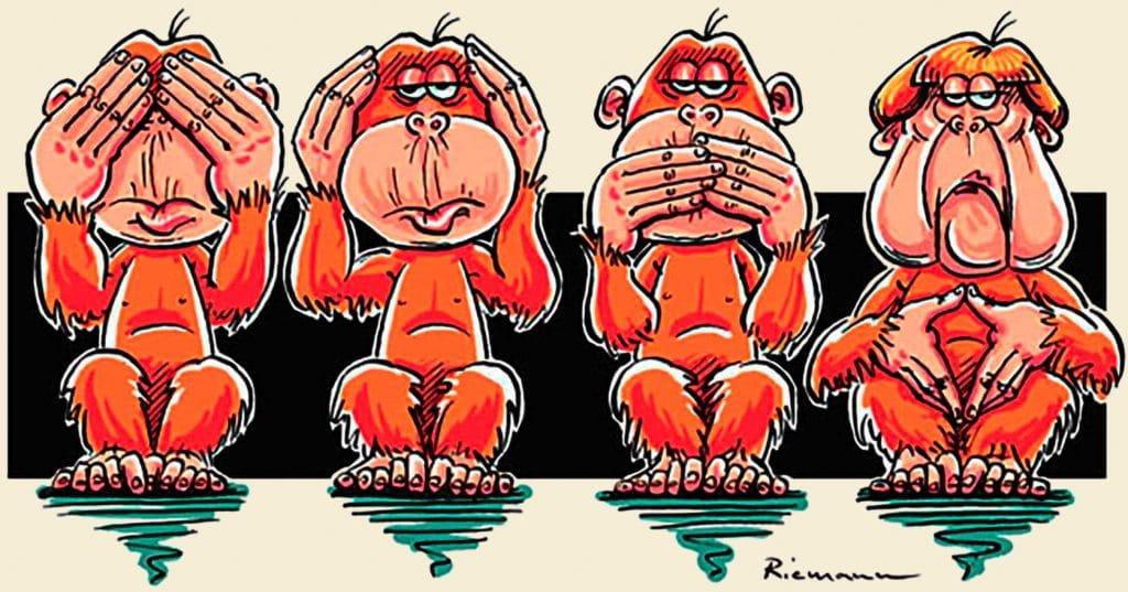 Merkel als Urmutter der neuen europäischen Demontage-Politik Hellas Angela Merkel aussitzen CDU Politik Deutschland Europa merkeln Abbau Angola Murksel drei vier affen riemann Karikatur